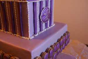 Purple Stripes Wedding Cake