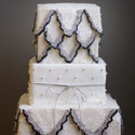 Vintage White Black and Silver Wedding Cake