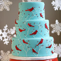 Winter Birds Wedding Cake