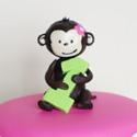 Kids Pink Mod Monkey Birthday Cake II