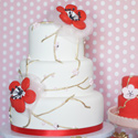 Red and Gold Cherry Blossom Cake